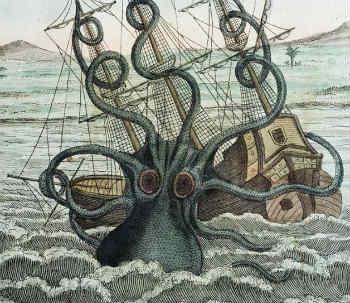 Kraken là một loài thủy quái huyền thoại có kích thước khổng lồ