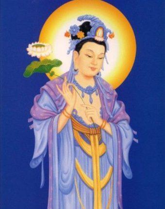hình tượng Bồ tát Đại Thế Chí cầm hoa sen xanh