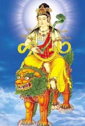 Hình tượng Bồ tát Văn Thù Sư Lợi cưỡi sư tử xanh