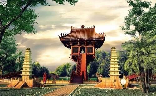 hình vẽ chùa Một Cột thời nhà Lý